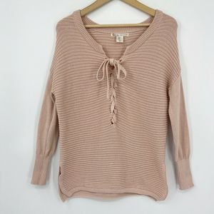 Kaisely Lace Up Front Sweater Blush Pink Sz S